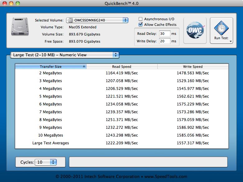 MAXPower SATA RAID Test: QuickBench, Large
