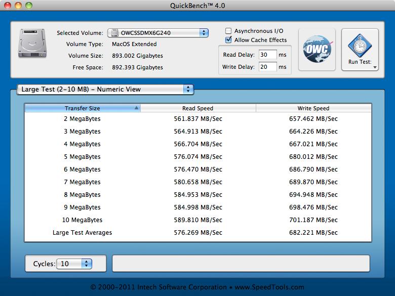 Stock SATA RAID Test: QuickBench, Large