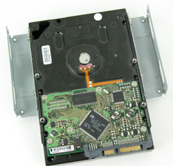 "Adapter bracket attached to a 3.5"" SATA hard drive."