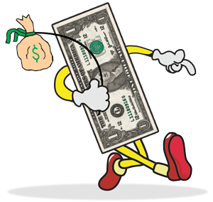 Image result for cartoon walking money