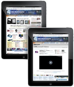 OWC web site on iPad
