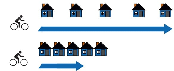 image of bicycle rider with blue arrows and houses