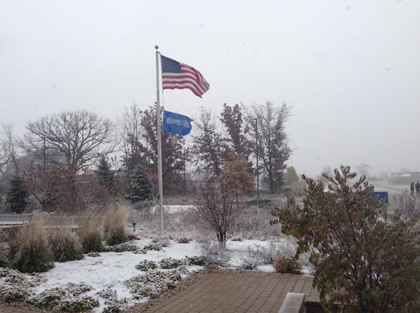 First snow of the season hits OWC headquarters in Woodstock, Ill.