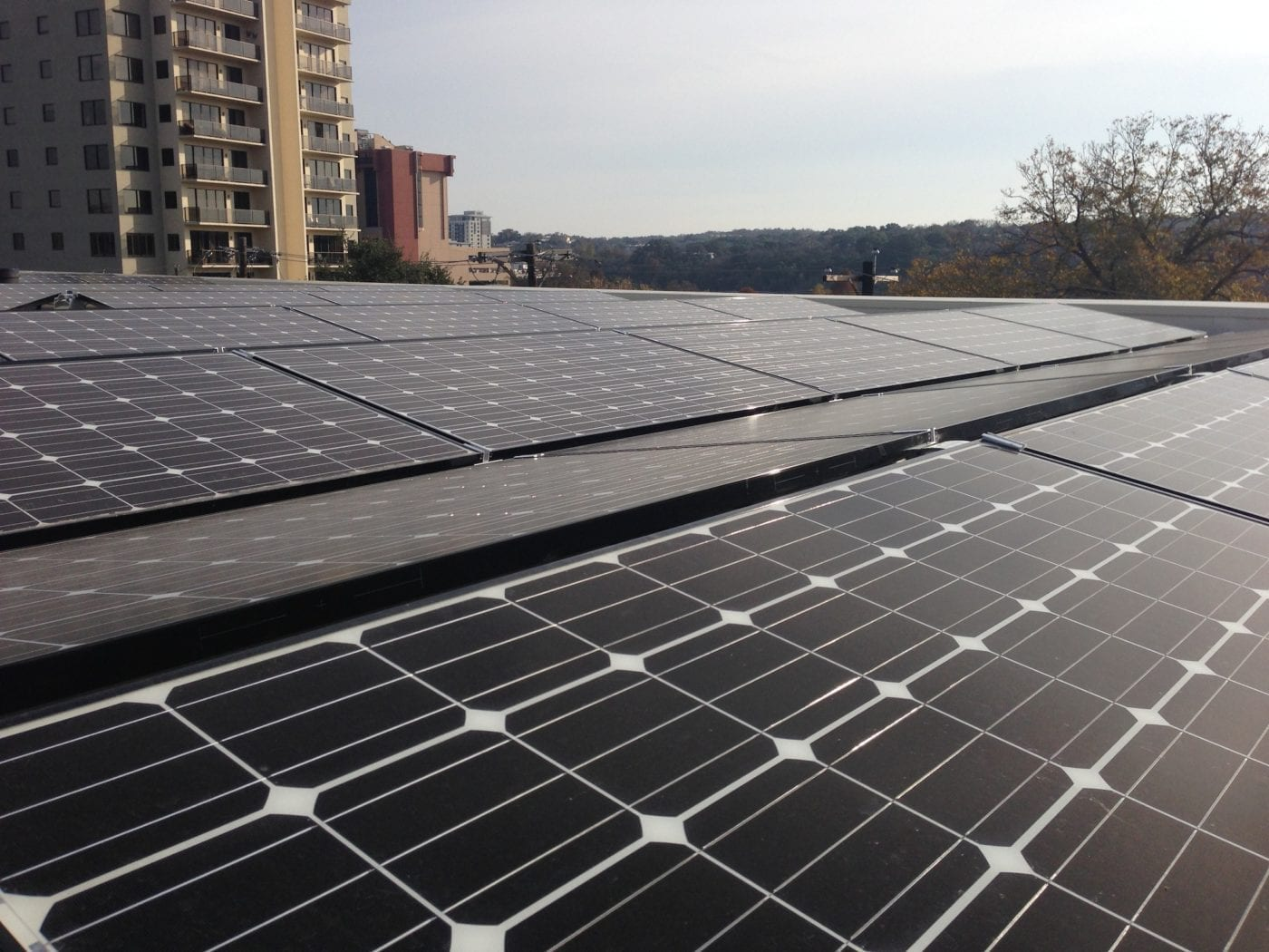 OWC solar panel project for its Austin facility is fully installed. (Click to enlarge)
