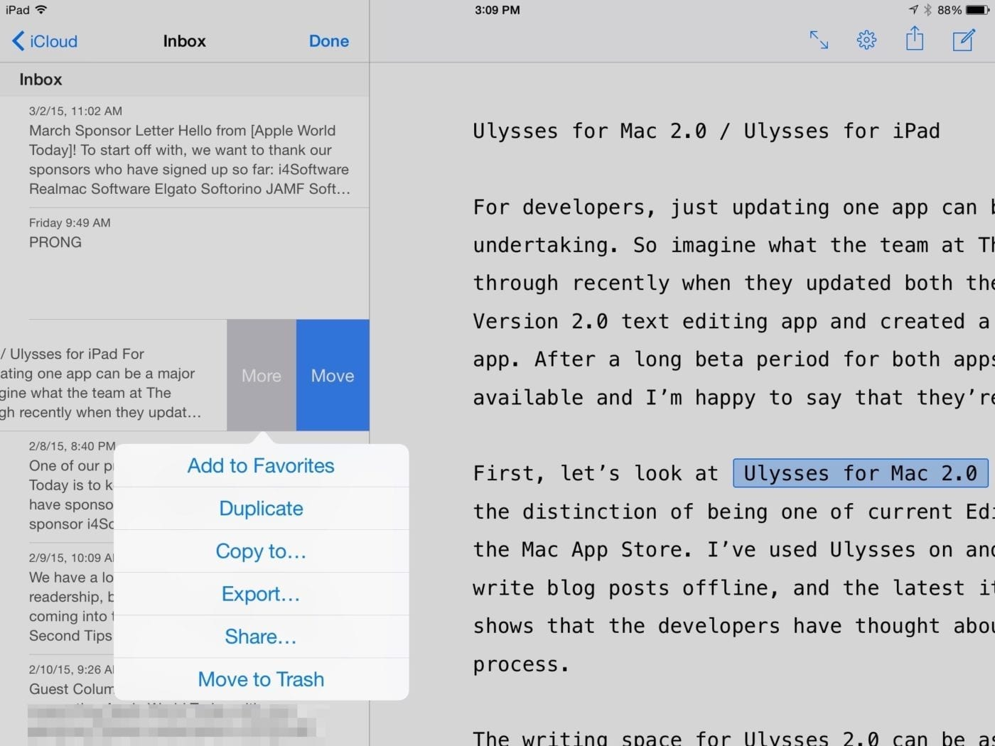 Ulysses for iPad Library UI