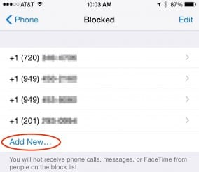 Add a number to iPhone block list