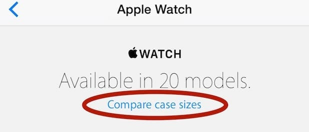 Using the Apple Store app to compare actual Apple Watch case sizes