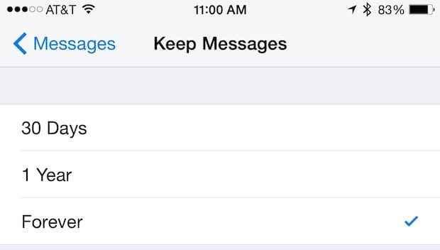 Keep Messages Setting