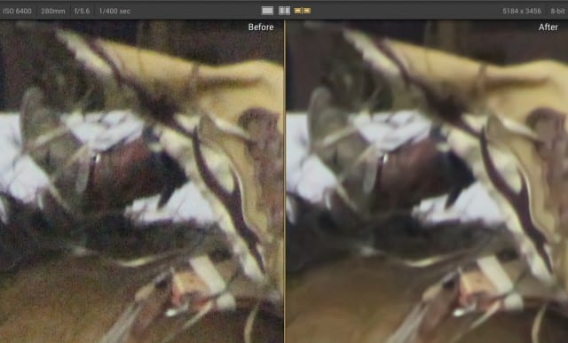 Photo before (left) and after (right) being processed by Noiseless
