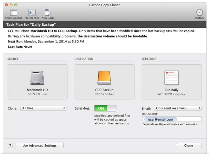 Carbon Copy Cloner user interface