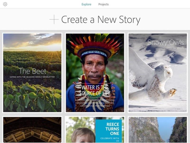 Adobe Slate Explore screen