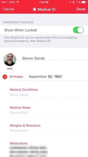 Editing Medical ID Card