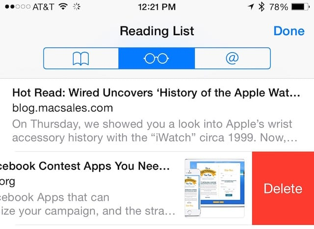 Deleting item from Reading List in iOS 8 Safari