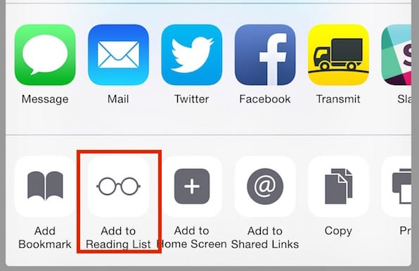 "iOS 8 Safari ""Add to Reading List"" Button"