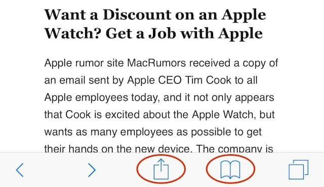 iOS 8 Safari - Share and Bookmark Buttons