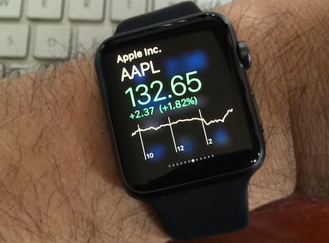Apple Watch showing AAPL stock price