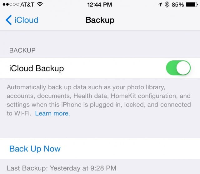iCloud Backup Settings
