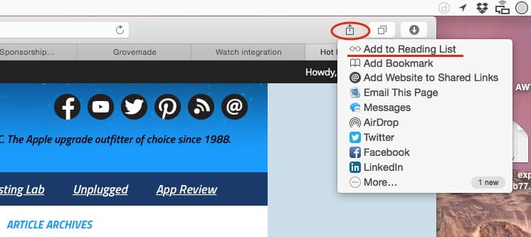 The Share Button on OS X Yosemite Safari