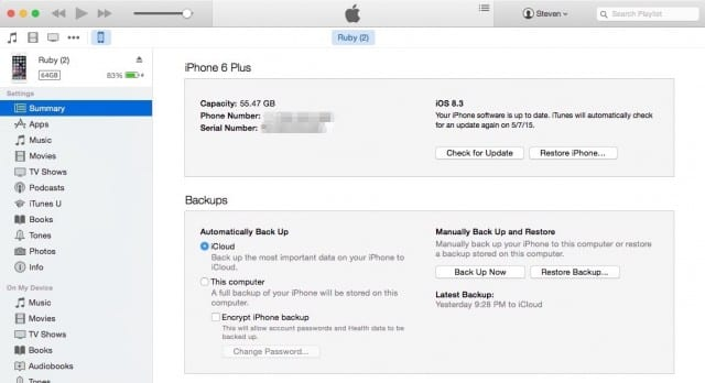 iOS device backup settings in iTunes on Mac OS X