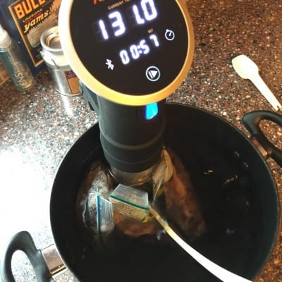 Steaks being cooked with Anova Precision Cooker