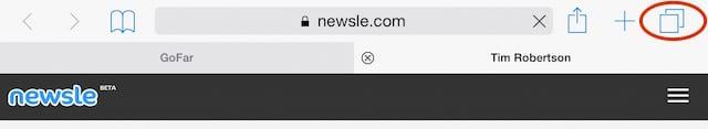 Location of tabs button in iOS 8 Safari