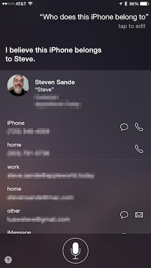 Find the owner of an iPhone using Siri