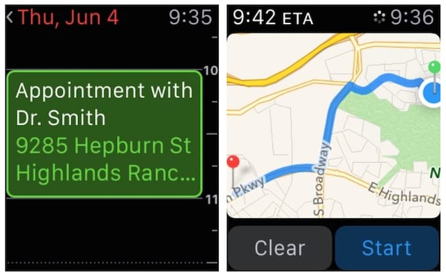 Appointment and Directions on Apple Watch