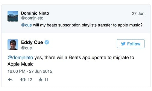 Beats Migration tweet from Eddy Cue