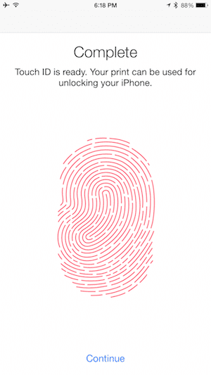 Capturing a fingerprint for Touch ID