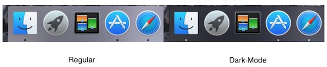 Comparison of regular and dark mode Dock
