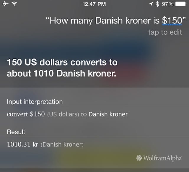Siri being used to do currency conversions