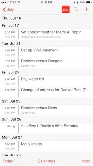 iOS 8 Calendar App