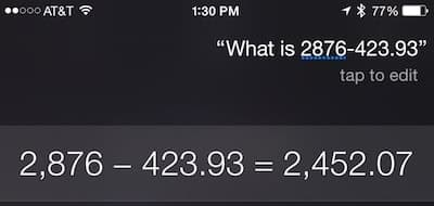 Siri: Subtraction