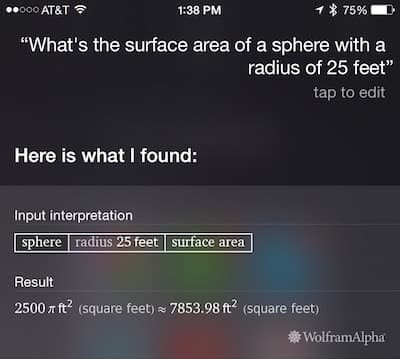 Siri: Surface area of a sphere with known radius