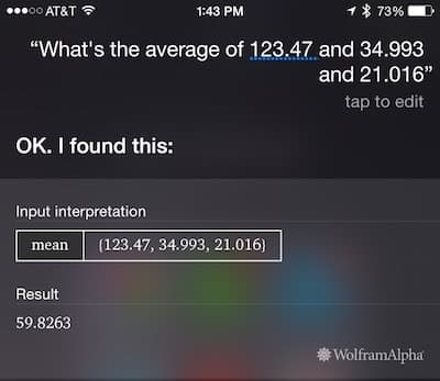 Siri: Calculating mean of three numbers
