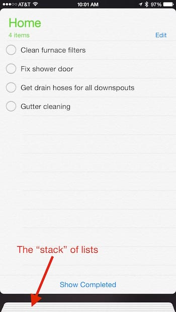 iOS Reminders App, showing a list of reminders