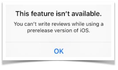 iOS 9 Beta App Review Block