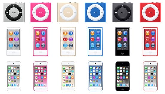 New iPod colors, image via MacRumors.com