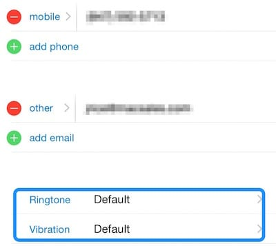 Where to set ringtone and vibration patterns for phone calls
