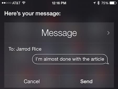 Using Siri to dictate and send messages