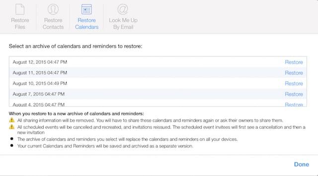 Restore iCloud Calendars