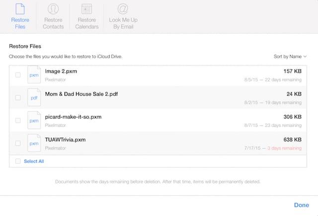 Restore Files in iCloud
