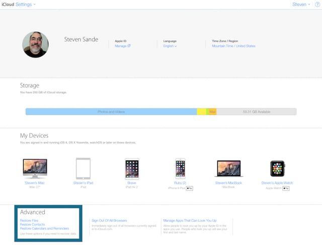 iCloud.com Settings