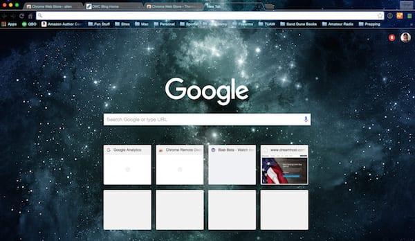 A space theme in Chrome