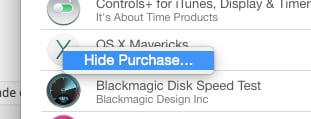 Hiding a purchase in Mac App Store