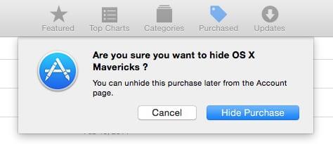 Verify hiding an app in Mac App Store