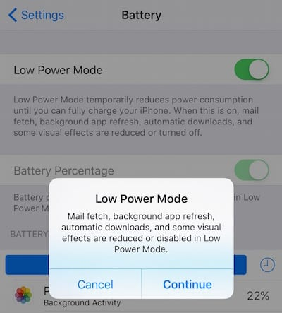 iOS 9 Lower Power Mode
