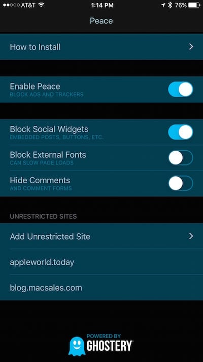 User interface for Peace, a content blocker