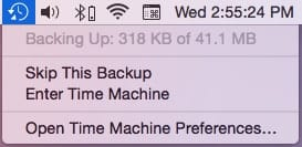 Time Machine Backup in progress
