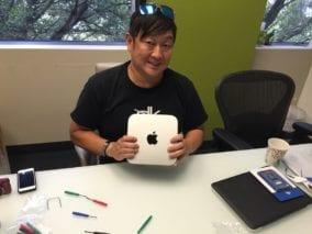 Dave Kim with his Mac mini.